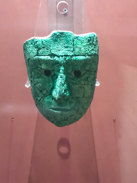 Pakal's original death mask at the museum. The body of Pakal is now in Mexico City