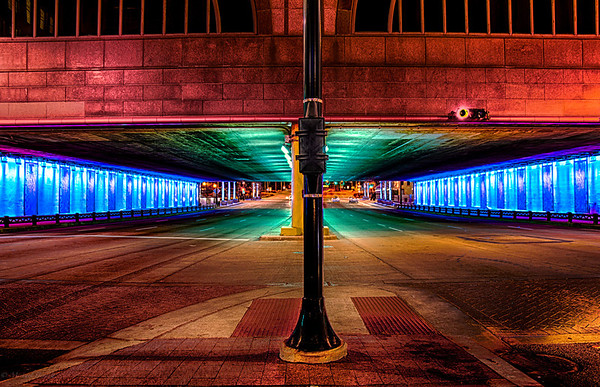 Shot around 4am in the middle of downtown Chicago. The Chicago Stock Exchange was lit up in a great way, with turquoises and purples for the holidays. <br /> <br /> Shooting on a Sunday morning at such an early time left me almost alone in the loop which is a crazy feeling when it's normally so populated. Shot on the morning of 12-8-13.