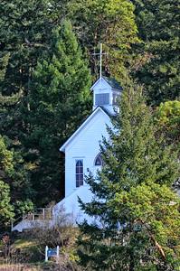 Church on the hillside in Roche Harbor, WA