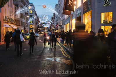 Shoppers on the beautifully decorated Bond Street
