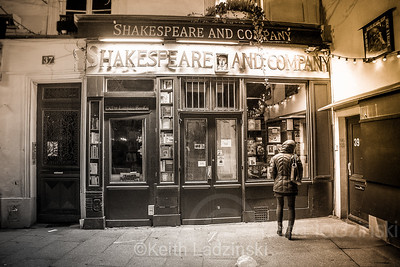 Dana checking out the historic Shakespeare and Company bookstore, Paris