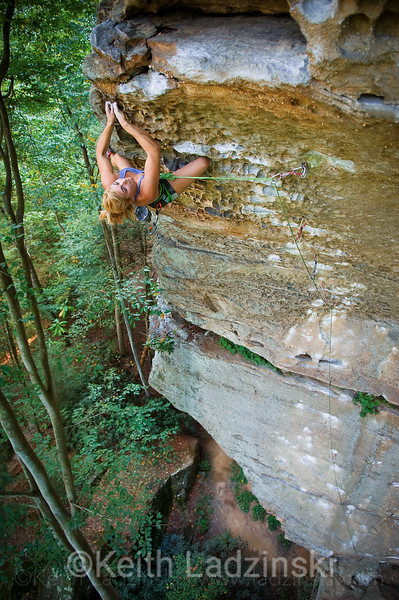 colette mcInerney climbing in the red river gorge kentucky