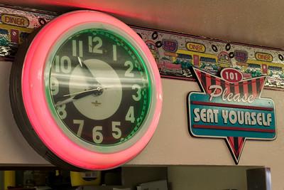 The clock inside the Hi-Way 101 Diner - Sequim, WA