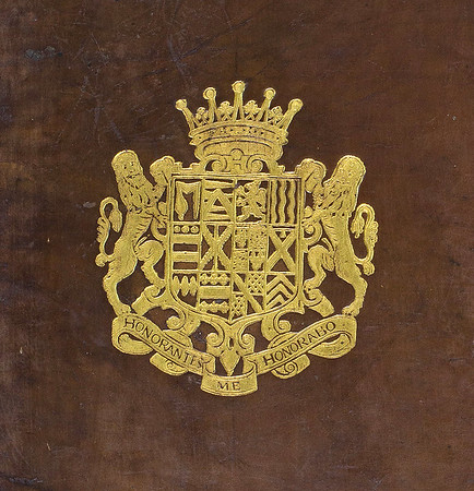 Early  17th English armorial binding with coat of arms of Henry Hastings.