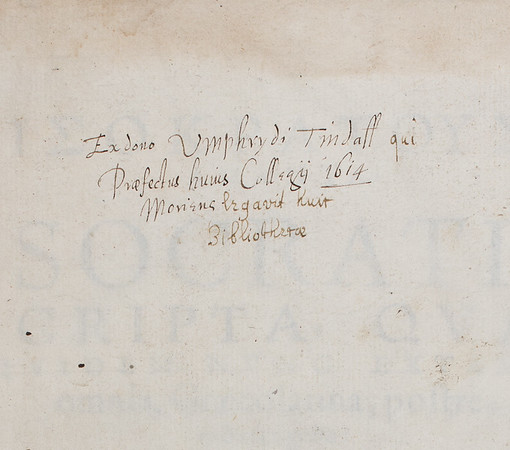 Donor inscription of Humphrey Tyndall, 17th century