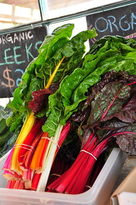 Rainbow Chard for sale at the fruit and vegetable stand.