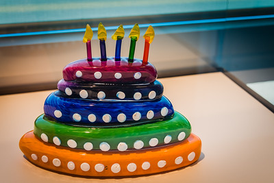 Cute birthday cake made out of glass - Tacoma Glass Museum