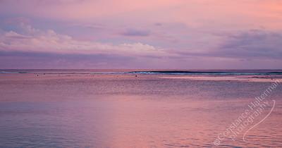 Rarotonga - pink sunset, panorama