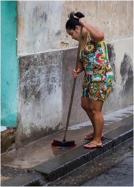 Cuba Havana Centro Havana Woman Sweeping March 2017