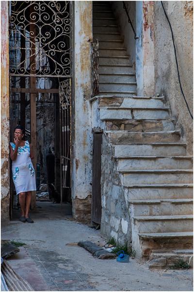 Cuba Havana Centro Havana Woman near Staircase March 2017