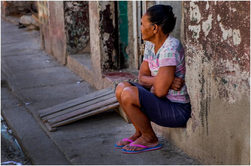 Cuba Havana Centro Havana Woman on Doorstep 3 March 2017