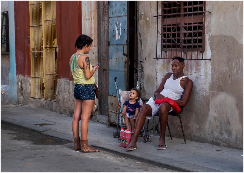 Cuba Havana Centro Family on Sidewalk March 2017