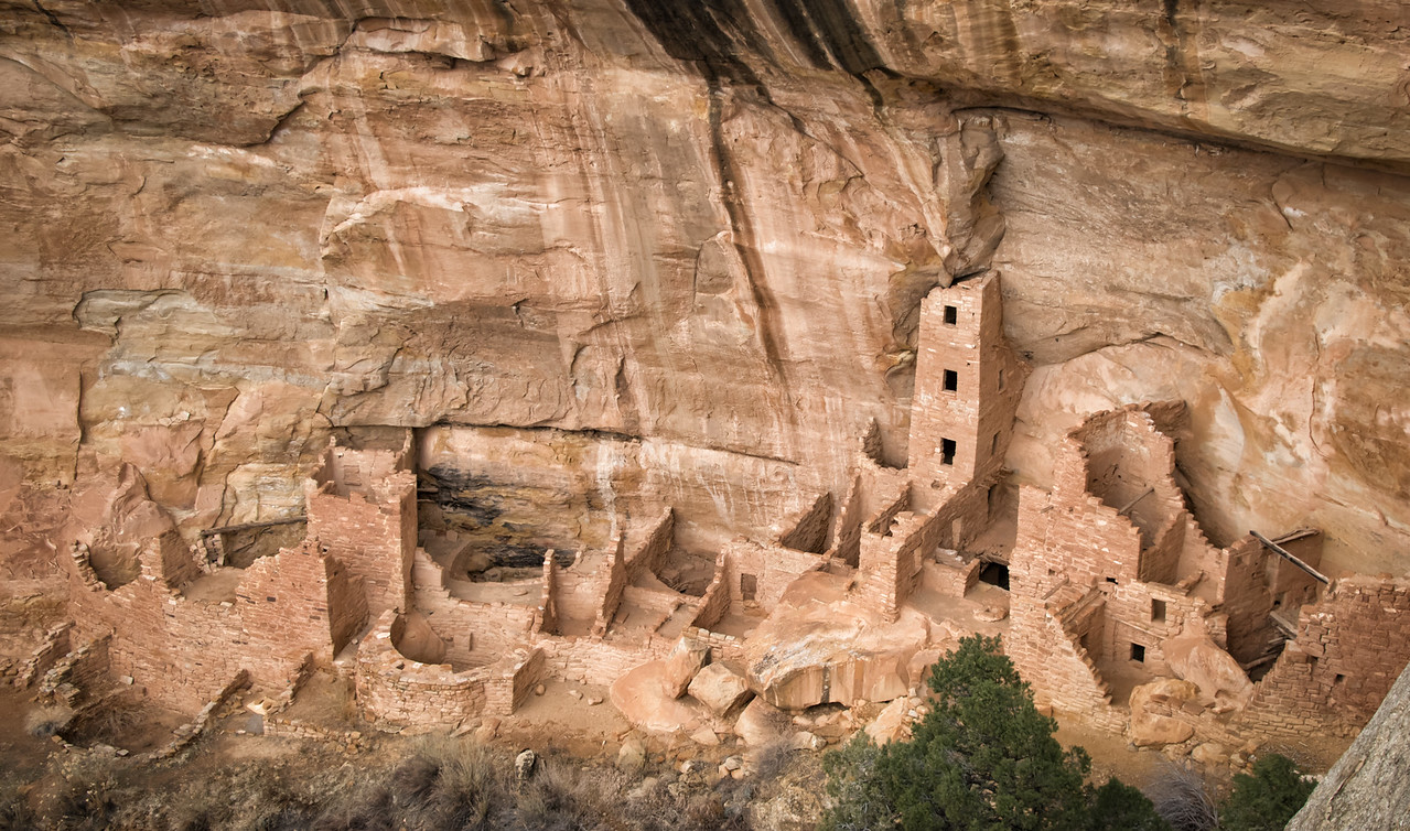 An expanded rendition of the Square Tower House ruins, once occupied by the Anasazi.