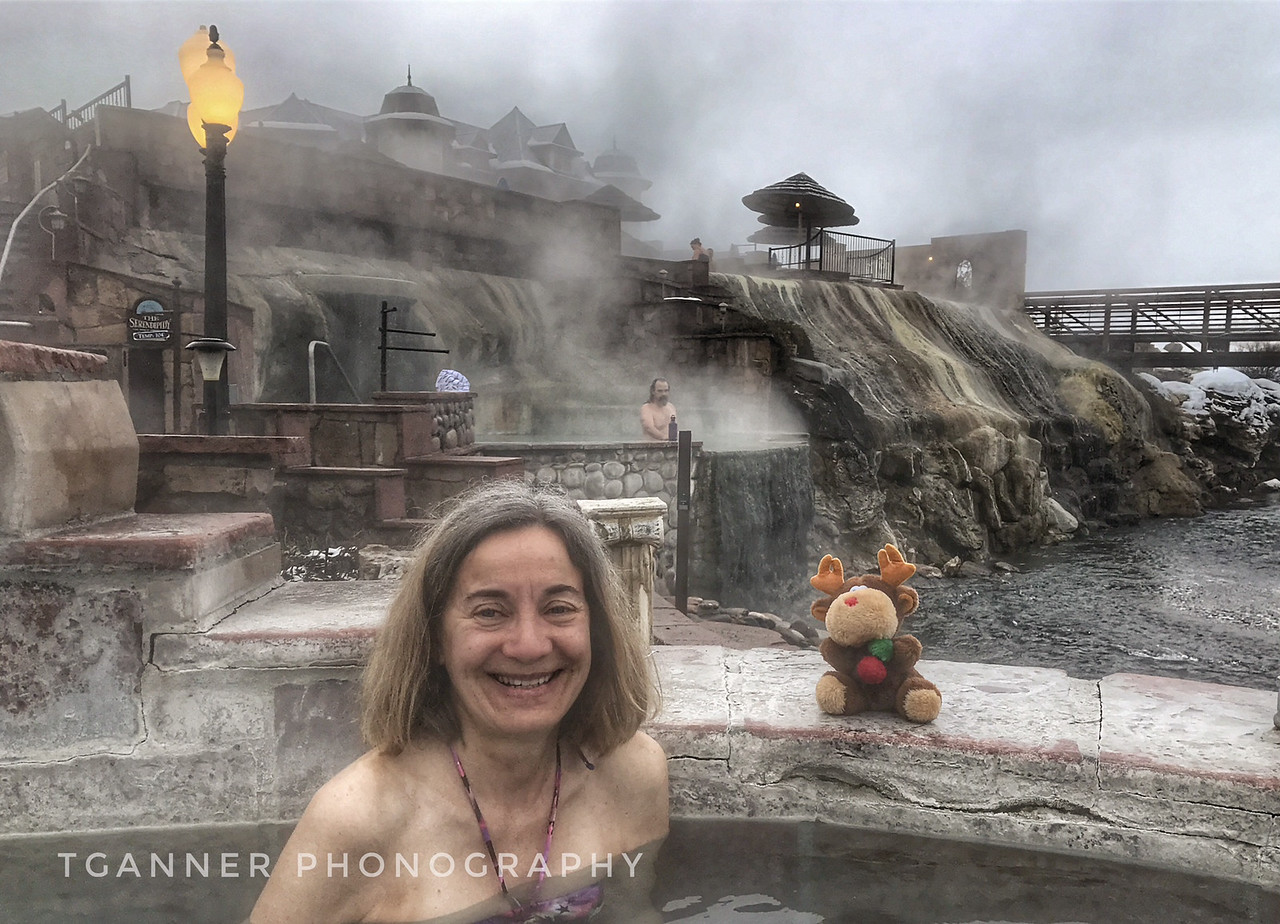 Chris and Carolyn enjoy a morning soak at Pagosa Springs, Colorado