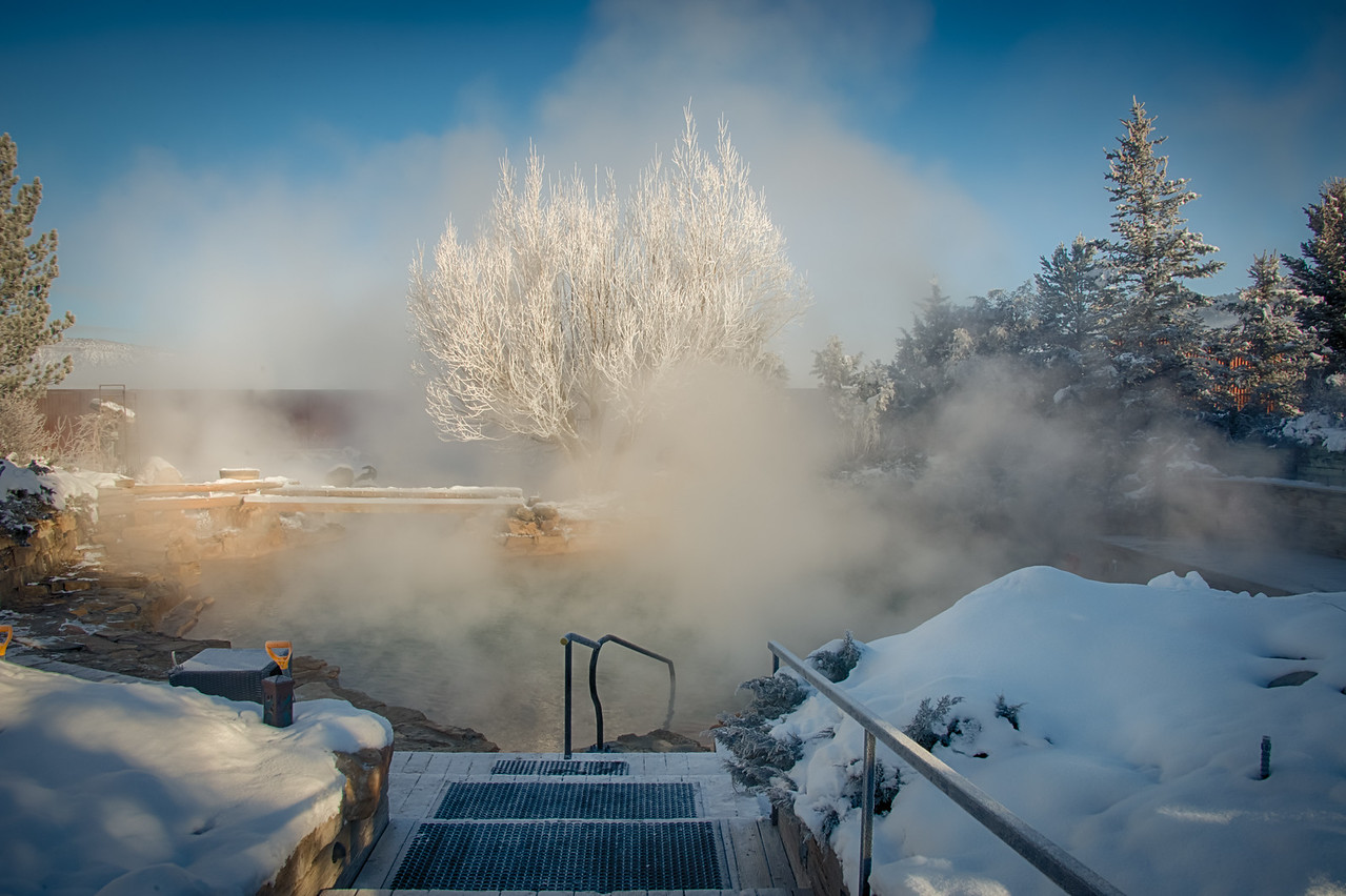 Minus 7 degrees this morning at Orvis Hot Springs in Ridgway, Colorado.
