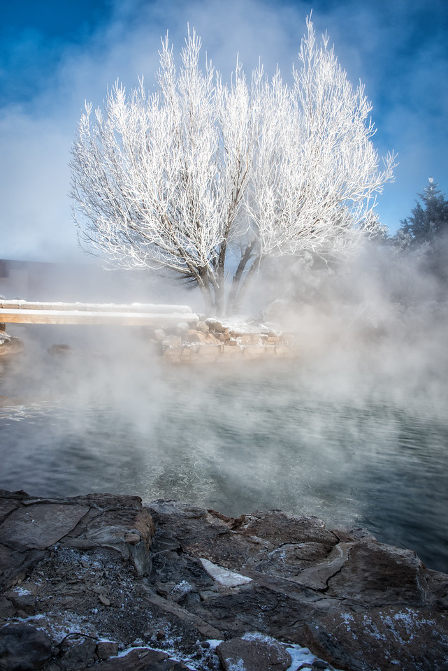 The dance of steam and frost and light was a symphony for the eye. Orvis Hot Springs.