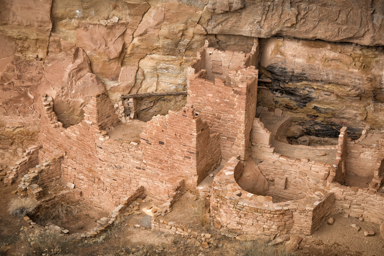 Ceremonial kivas abound at all of the pueblo sites. Square Tower House ruins.