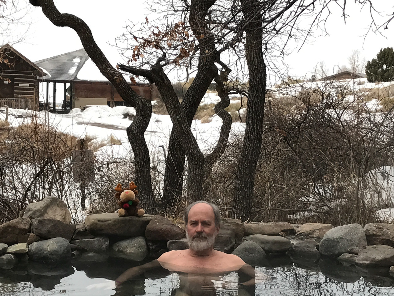 Our first soak at Orvis Hot Springs in the Sangre de Christo Mountains above the San Luis Valley of Colorado. Most of the water at these springs is warm, not hot. Two new pools utilize excess electricity from the pelton wheel to heat the water to around 103 degrees. Great soaking!