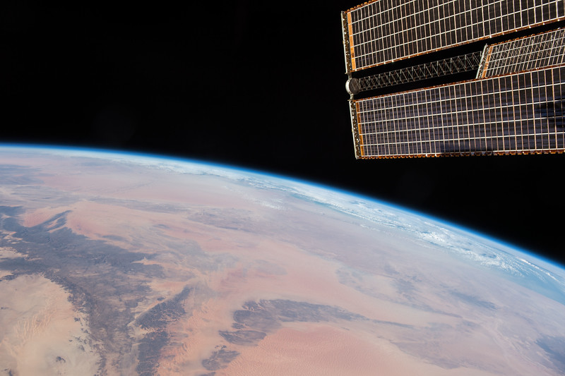 """Looking north over """"the Greatest Desert""""; largest hot desert in the world. ISS over Africa. (ANSWER: The Sahara Desert)"""