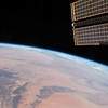 "Looking north over ""the Greatest Desert""; largest hot desert in the world. ISS over Africa. (ANSWER: The Sahara Desert)"