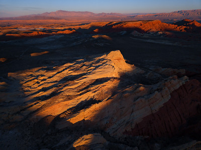Aerials over Nevada's Valley of Fire, an upheaveal of red, white and yellow sandstone near lake mead