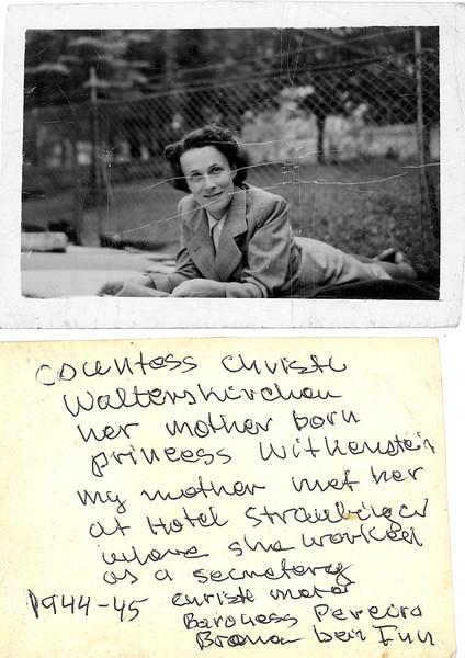 Austria. 1944-45. Hotel Straubinger in Bad Gastein.  Countess Christl Walterskirchen daughter princess Witkenstein [Wittgenstein]