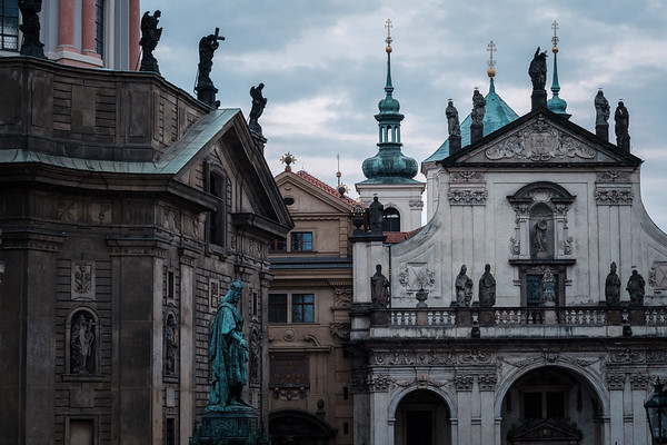 Statues Around St. Francis Of Assissi Church in Prague