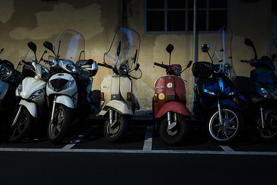 Classic Vespa Scooters Parked - Florence, Italy