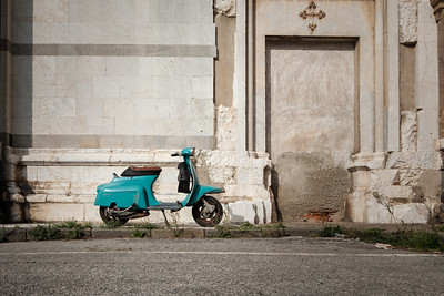 Vintage Blue Lambretta 50 In Lucca, Italy