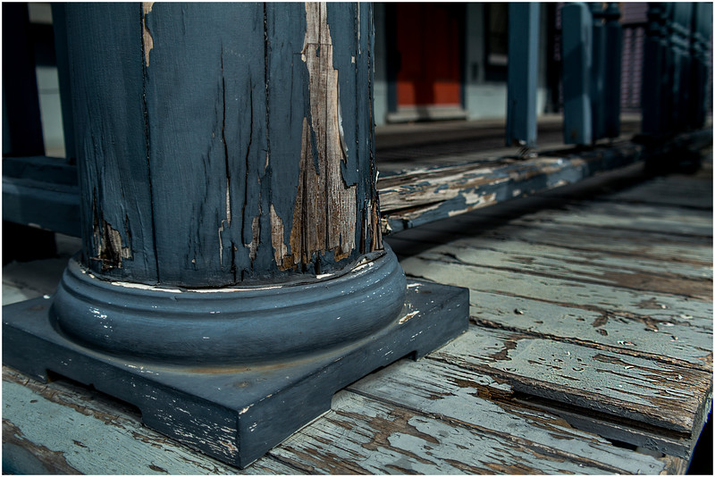 Ithaca NY Downtown Detail Blue Porch October 2016