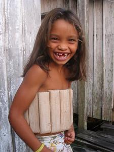 Brazilian girl in a wooden life-jacket. 2003