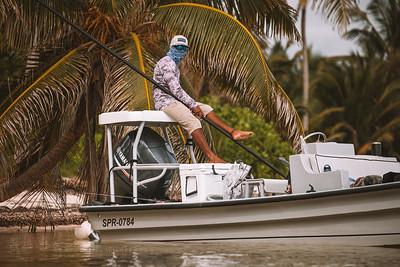 Fly fishing at El Pescador Lodge and Villas, Belize.