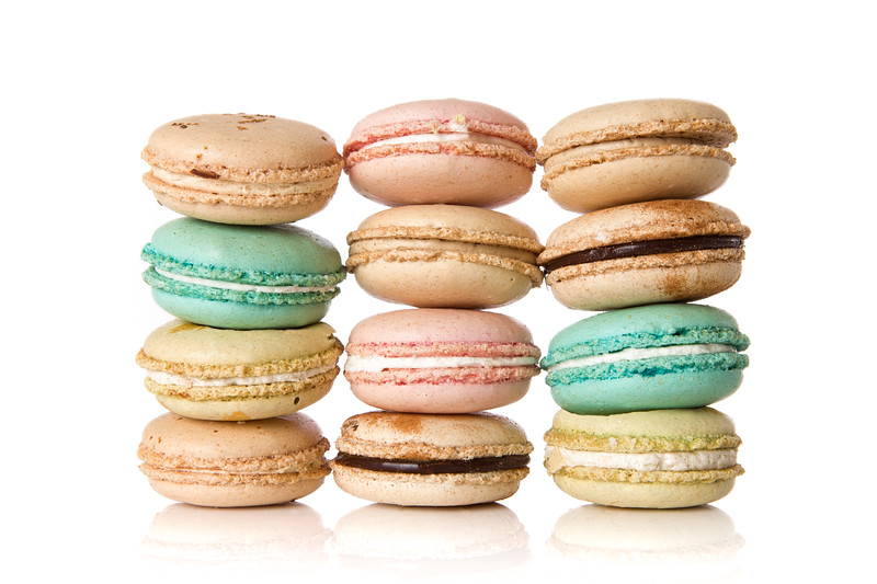 Stacks of assorted delicious macaroons