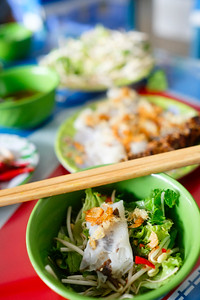 Vietnamese Rolled cake and rice noodles with grilled meat (Bánh cuốn and Thit nuóng)