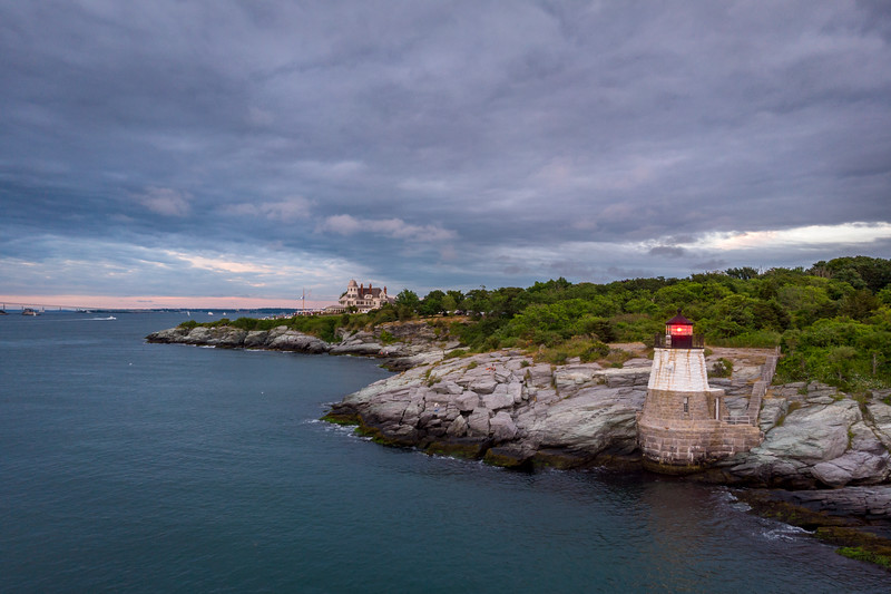 Castle Hill Lighthouse marking the east passage to Narragansett Bay, Newport RI.