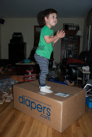 Yeaah! The diapers are here! (*two weeks supply)