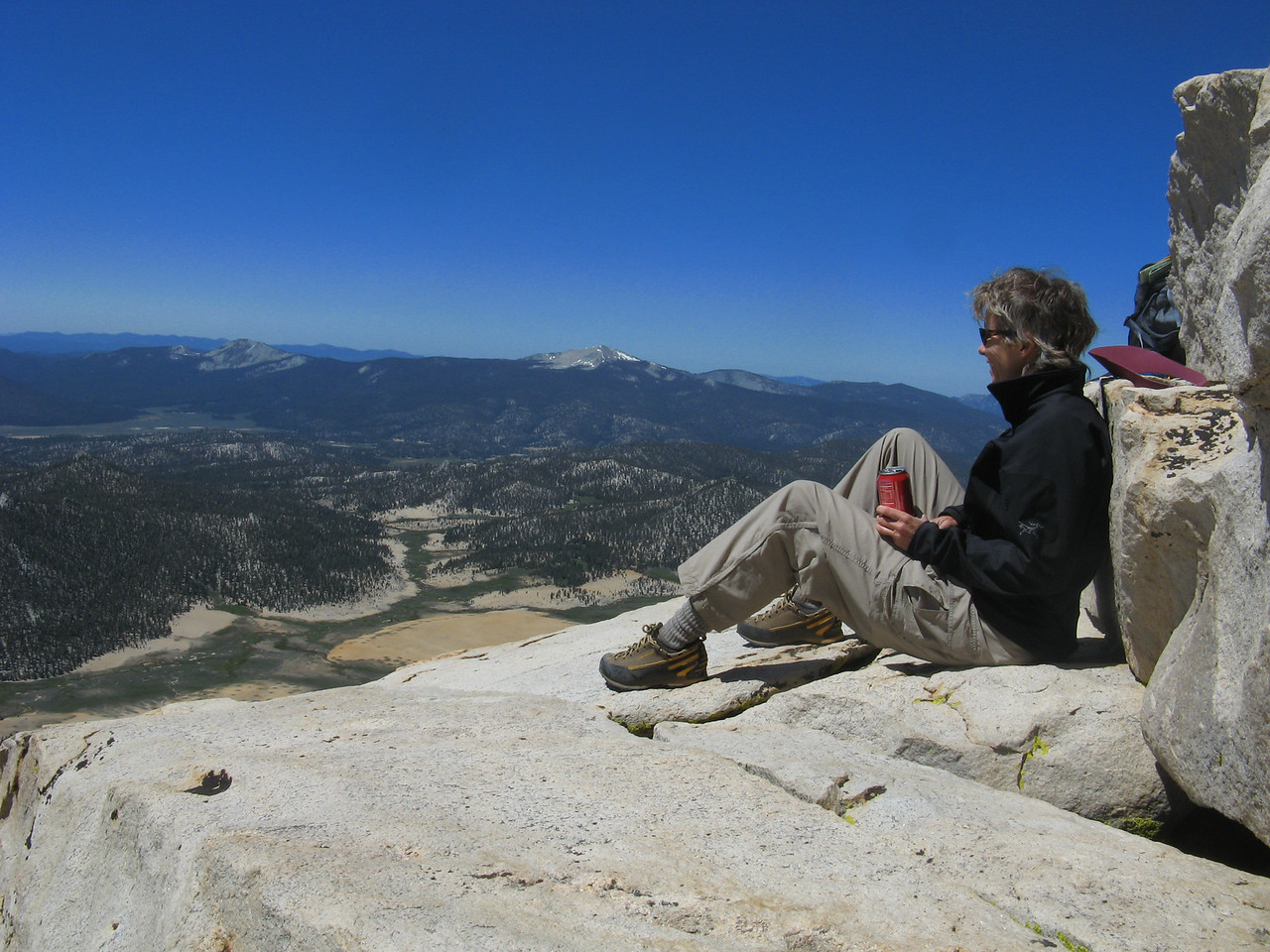 Relaxing with my summit Coke, looking at the southern sierra.