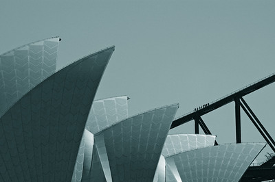 opera house and harbour bridge, from macquerie point, sydney september 2004