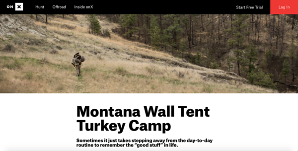 Wall Tent Turkey Camp blog feature and photography for onX Hunt.  https://www.onxmaps.com/blog/montana-wall-tent-turkey-camp-onx-hunt  May 2019.