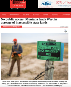 Image in the Missoula Current, regarding landlocked state lands report with TRCP and onX Hunt.