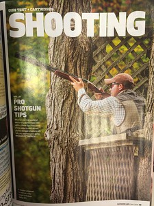Full page sporting clays image.   Outdoor Life, June 2016.