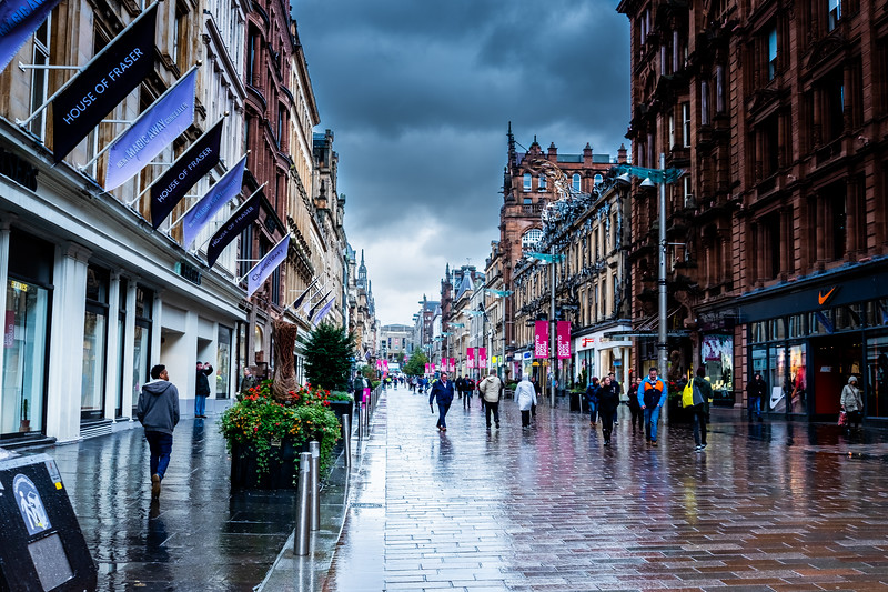 Dark clouds above Glasgow earlier today.
