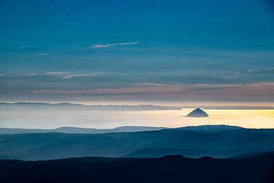 Looking over Ailsa Craig from the top of Goatfell this morning.  Noon is not a typically good time to shoot landscapes, but today a strong winter sun combined with lots of patterned cloud to cast a warm glow, which was interesting to work with.