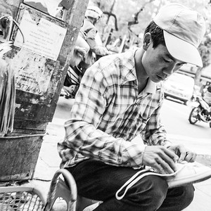 Preparing shoes for selling on the streets of #hanoi #vietnam