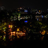 Stunning view of Hoàn Kiem lake from Cau Go rooftop restaurant in Hanoi for last night in Vietnam.