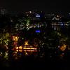 Stunning view of Hoàn Kiem lake from Cau Go rooftop restaurant in Hanoi for last night in Vietnam.