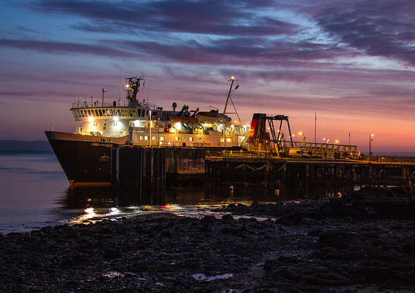In the days before the new ferry terminal.  The relief vessel, Lord of the Isles, at Brodick Pier at dawn in January 2012.