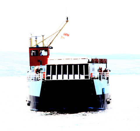 First experiments with photoshop - the Gigha Ferry, April 2012.