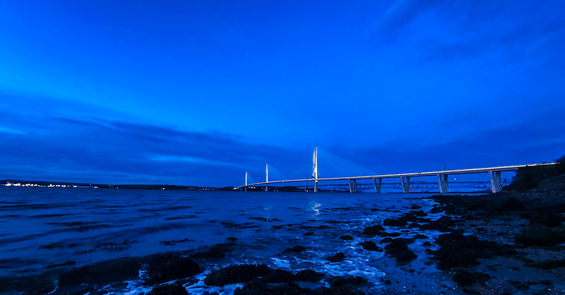 The new Forth Road Bridge later this afternoon in golden hour.  Been wanting to take a wander this direction for a while, and great to explore with @julesoh.kate and remember my days of sailing instructing around South Queensferry.