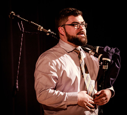 Piping tutor at Arran High School, Ross Miller, introduces the fast-evolving Arran High School pipe band to the Christmas Showcase concert last night.
